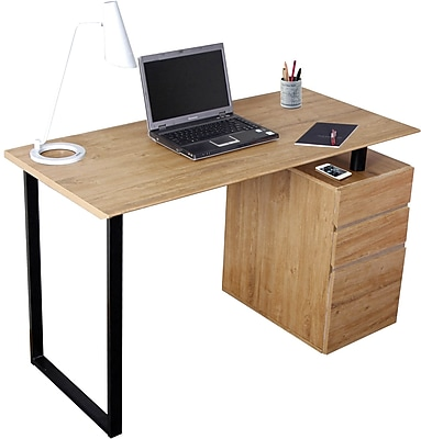 Techni Mobili Computer Desk with Storage and File Cabinet, Pine