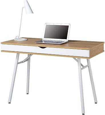 Techni Mobili Modern Computer Desk with Storage, Pine