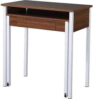 Techni Mobili Retractable Desk with Storage, Walnut