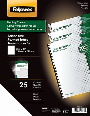 Fellowes® Futura Presentation Binding System Covers, Letter Lined, 8-1/2x11, Frost, 25/PK