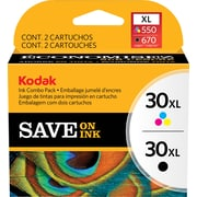Kodak 30BXL/30CXL Black and Tri-color Ink Cartridges (8257131), High Yield 2/Pack
