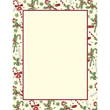 Great Papers® Holiday Stationery Candy Cane & Holly , 80/Count