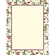 Great Papers® Holiday Stationery Candy Cane & Holly, 80/Count