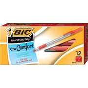 BIC® Xtra Comfort Round Stic® Grip Ballpoint Pens, Medium Point, 1.0 mm, Red, Dozen (13889/GSMG11RD)