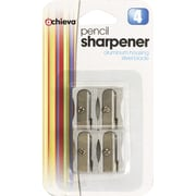 Officemate® Metal Handheld Pencil And Crayon Sharpener, Metallic Silver