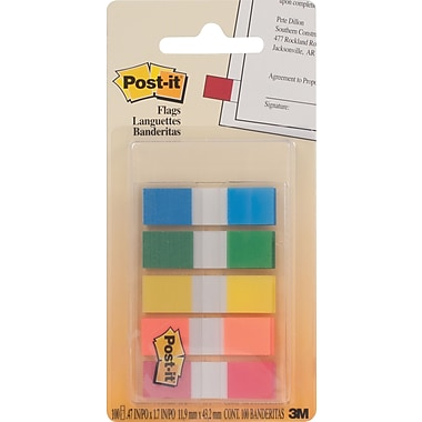 Post-it® Flags, 0.47'' x 1.7'', Assorted Colours, 5/Pack