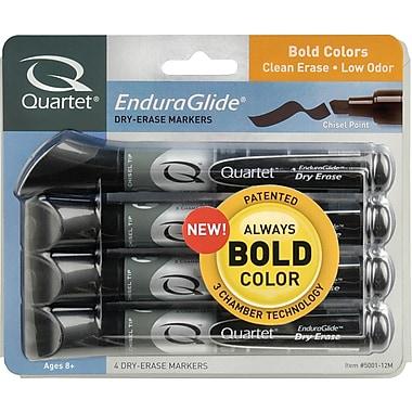 QuartetMD – Marqueurs à effacement sec EnduraGlideMD, pointe biseautée, couleurs variées, paquet de 4