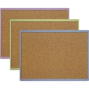 "Quartet® Cork Bulletin Board, 17"" x 23"", Plastic Frame, Assorted Colours"
