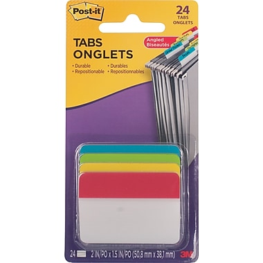 "Post-it® Filing Tabs, 2"" x 1-1/2"", 24/Pack"