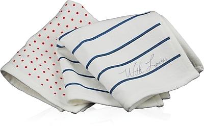 Blue Avocado LC People Towel - Pkg 2, Red Dot/Blue Stripe