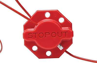 Accuform Signs® STOPOUT® Twist 'n Lock Cable and Cinch Lockout Hasp With 6' Steel Cable, Red
