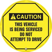 "Accuform Signs® 16"" Steering Wheel Message Cover ""CAUTION THIS VEHICLE IS BEING.."", Black On Yellow"