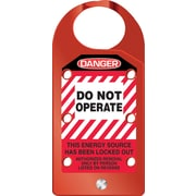 "Accuform Signs® STOPOUT® 6.75"" x 3.125"" Aluminum Hasp ""DANGER DO NOT.."", White/Black On Red"