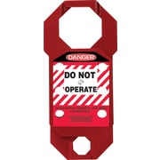 "Accuform Signs® 7"" x 3.125"" Aluminum Double Cross Hasp ""DANGER DO NOT.."", White/Black On Red"