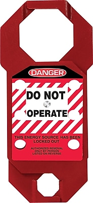 """Accuform Signs® 7"""" x 3.125"""" Aluminum Double Cross Hasp """"DANGER DO NOT.."""", White/Black On Red"""