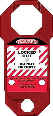 Accuform Signs® STOPOUT® Double Cross Aluma Tag™ Hasp, White/Black On Red
