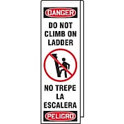 """Accuform Signs® Ladder Shield™ 87"""" x 13"""" Vinyl Bilingual Wrap """"DANGER DO NOT.."""", Red/Black On White"""