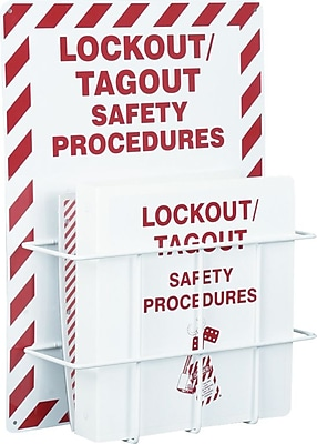 Accuform Signs® Lockout Procedure Station With PVC-Coated Steel Wire Rack, Red On White