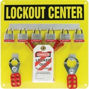 Accuform Signs® Lockout Center Board With Kit and 6 Padlock, Black On Yellow