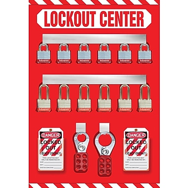 Accuform Signs® Lockout Store Board With Kit and 12 Padlock, Red/White
