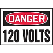 """Accuform Signs® 3 1/2"""" x 5"""" Adhesive Vinyl Safety Label """"DANGER 120 V.."""", Red/Black On White, 5/Pack"""
