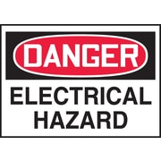 "Accuform Signs® 3 1/2"" x 5"" Adhesive Vinyl Safety Label ""DANGER ELEC.."", Red/Black On White, 5/Pack"