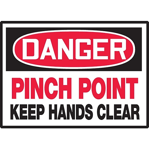 """Accuform Signs® 3 1/2"""" x 5"""" Adhesive Vinyl Safety Label """"DANGER PINC.."""", Red/Black On White, 5/Pack"""