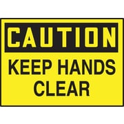"Accuform Signs® 3 1/2"" x 5"" Adhesive Vinyl Safety Label ""CAUTION KEEP HA.."", Black On Yellow, 5/Pack"