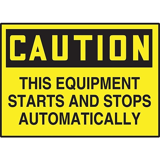 """Accuform Signs® 3 1/2"""" x 5"""" Adhesive Vinyl Safety Label """"CAUTION THIS E.."""", Black On Yellow, 5/Pack"""