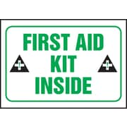 "Accuform Signs® 3 1/2"" x 5"" Adhesive Vinyl Safety Label ""FIRST AID.."", Green/Black On White, 5/Pack"