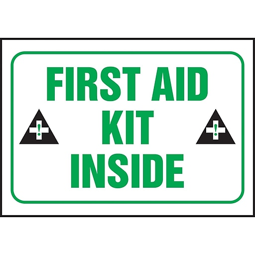 """Accuform Signs® 3 1/2"""" x 5"""" Adhesive Vinyl Safety Label """"FIRST AID.."""", Green/Black On White, 5/Pack"""