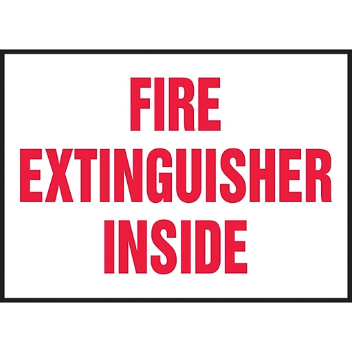 """Accuform Signs® 3 1/2"""" x 5"""" Adhesive Vinyl Safety Label """"FIRE EXTINGUISHER.."""", Red On White, 5/Pack"""
