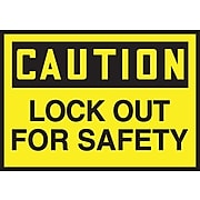 """Accuform Signs® 3 1/2"""" x 5"""" Adhesive Vinyl Safety Label """"CAUTION LOCK OU.."""", Black On Yellow, 5/Pack"""