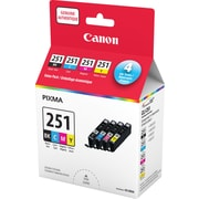 Canon® CLI-251 Black & Colour Ink Cartridges, Value Pack (6513B009)