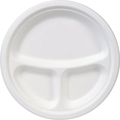 Dixie® 3-Compartment Molded Fiber Paper Plate by GP PRO, 9