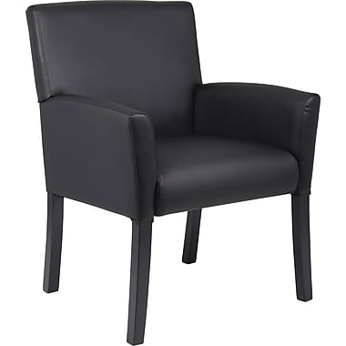 Boss Leather Executive Office Chair, Fixed Arms, Black (B639-BK)