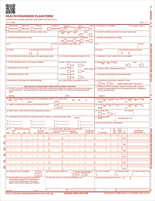 ComplyRight™ CMS-1500 Health Insurance Claim Form (02/12), Laser Cut, Pack of 2,500 (CMS12LC)