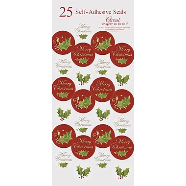 Great Papers® Holiday Seals Christmas Holly , 50/Count