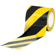 "Tape Logic™ 4"" x 36 yds. Striped Vinyl Safety Tape, Black/Yellow, 12/Case"