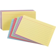 "Staples Index Cards 3"" x 5"" Line Ruled Pastel Assorted Colors, 300/Pack"