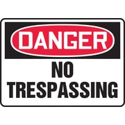 "Accuform Signs® 7"" x 10"" Plastic Safety Sign ""DANGER NO TRESPASSING"", Red/Black On White"