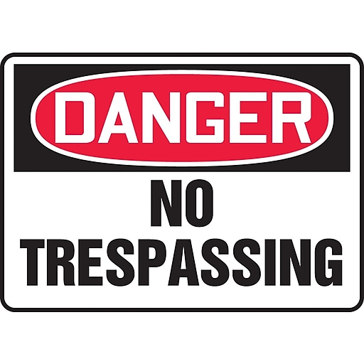 "Accuform Signs® 10"" x 14"" Vinyl Safety Sign ""DANGER NO TRESPASSING"", Red/Black On White"