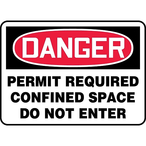 """Accuform Signs® 7"""" x 10"""" Vinyl Confined Space Sign """"DANGER PERMIT REQUIRED.."""", Red/Black On White"""