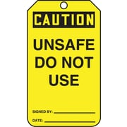 "Accuform Signs® 5 3/4"" x 3 1/4"" RP-Plastic Safety Tags ""CAUTION UNSAFE.."", Black On Yellow"