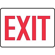 """Accuform Signs® 7"""" x 10"""" Plastic Safety Sign """"EXIT"""", Red On White"""