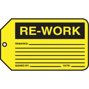 """Accuform Signs® 5 3/4"""" x 3 1/4"""" PF-Cardstock Production Tags RE-WORK"""", Black On Yellow"""