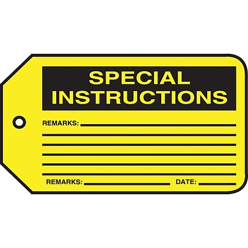 """Accuform Signs® 5 3/4"""" x 3 1/4"""" PF-Cardstock Production Control Tag """"SPECIAL.."""", Black On Yellow"""