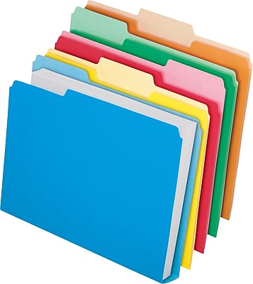 Pendaflex® Double Stuff® File Folders, Letter Size, 3 Tab Positions, Assorted Colors, 24/Pack (54458)