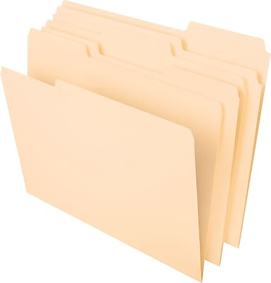 Staples Top-Tab File Folders, 1/3 Cut, Manila, Letter-Size, 24/Pack