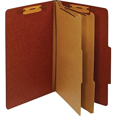 Staples® Classification Folder 2 Dividers, Legal, Red, 5/Pack